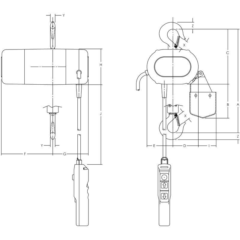 Yale CPS - lekki wciągnik łańcuchowy z napędem elektrycznym - rysunek techniczny