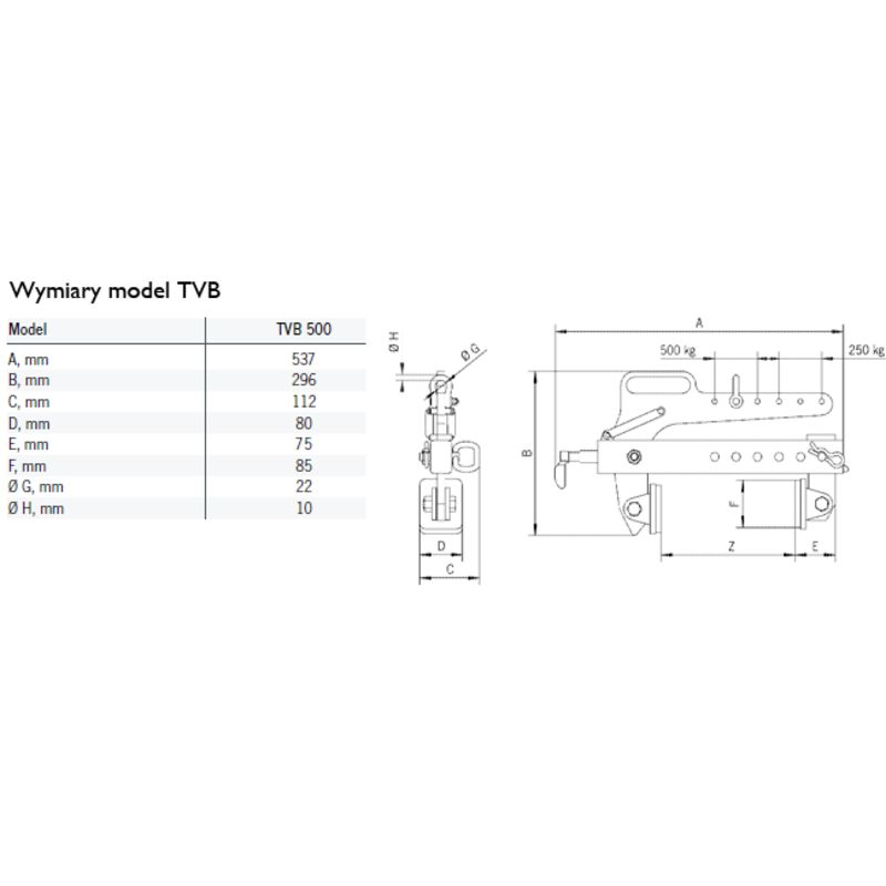 Yale Tigrip TVB 500 - wymiary