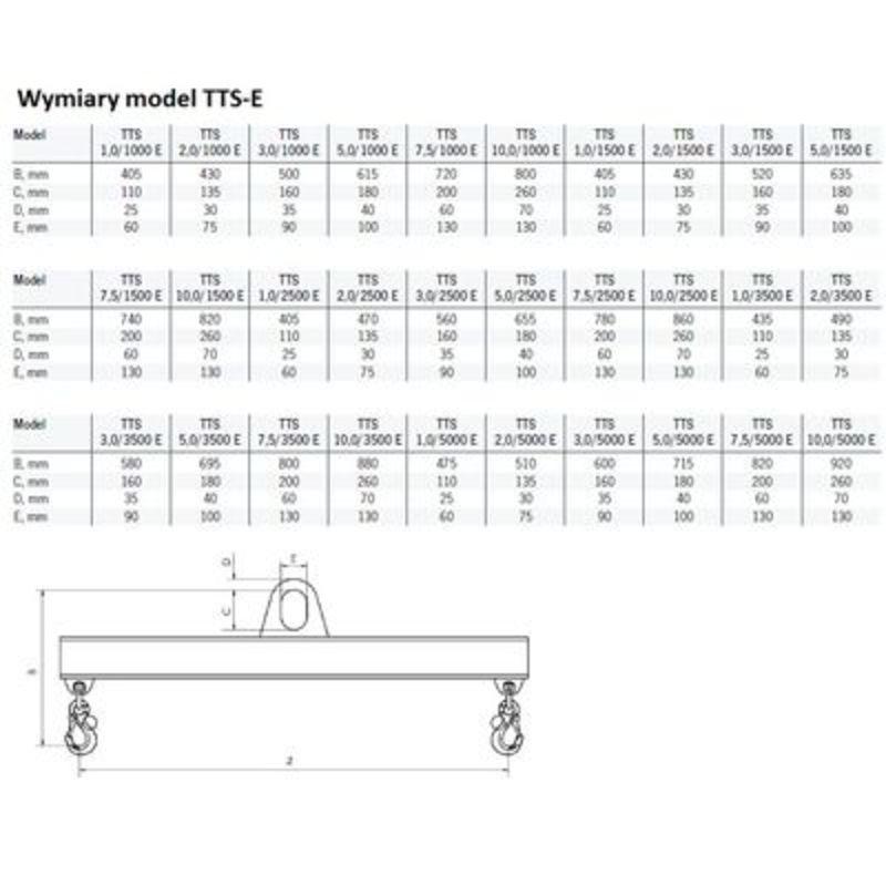 Yale Tigrip TTS 1,0/3500 E - wymiary