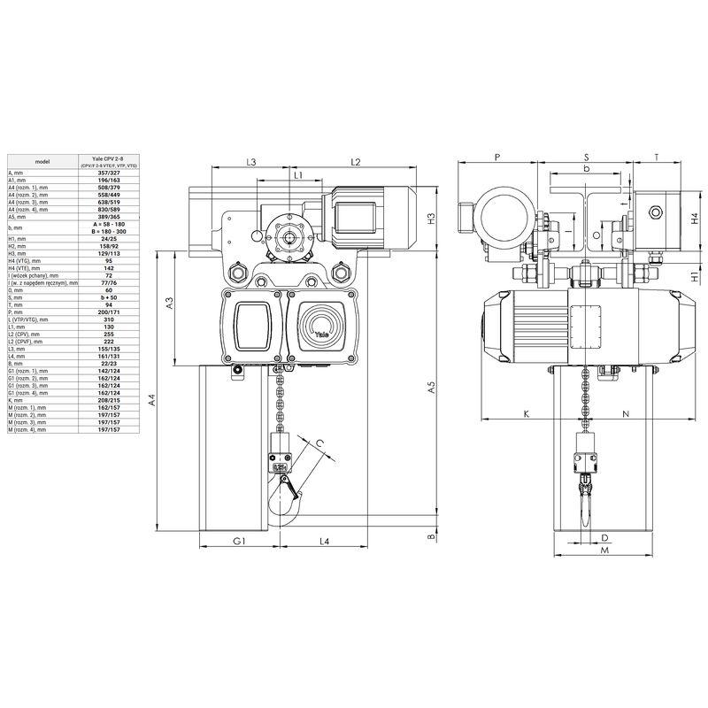 Yale CPV VTE 250 kg - wymiary