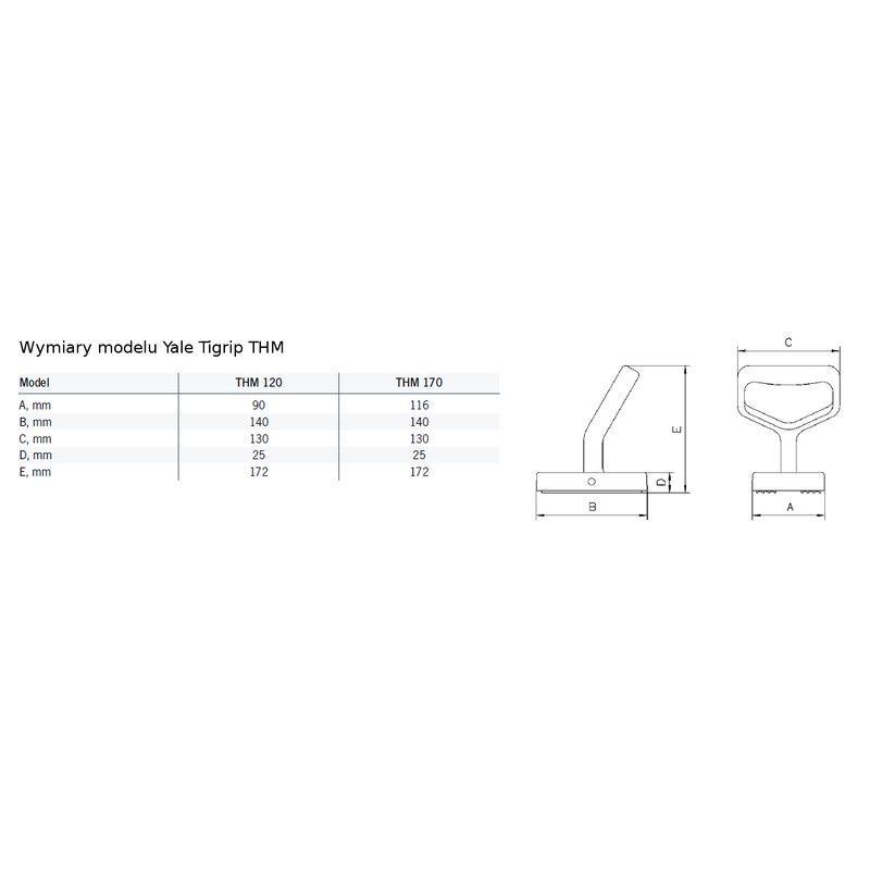 Yale Tigrip THM 170 - wymiary