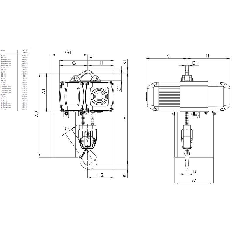 Yale CPV 500 kg - wymiary