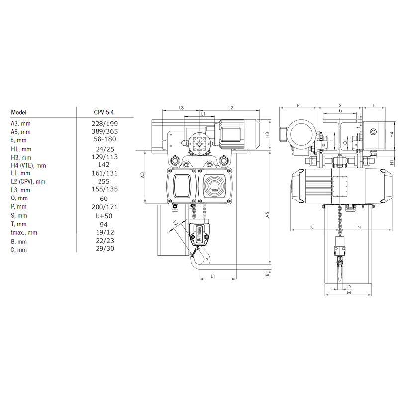 Yale CPV VTE 500 kg - wymiary
