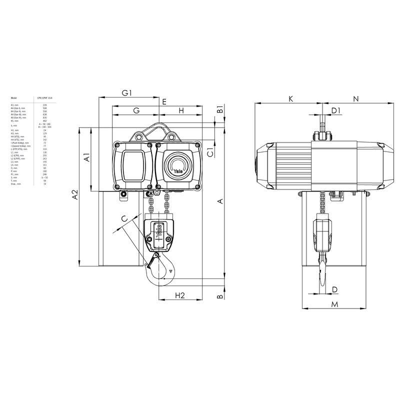 Yale CPV 1000 kg - wymiary