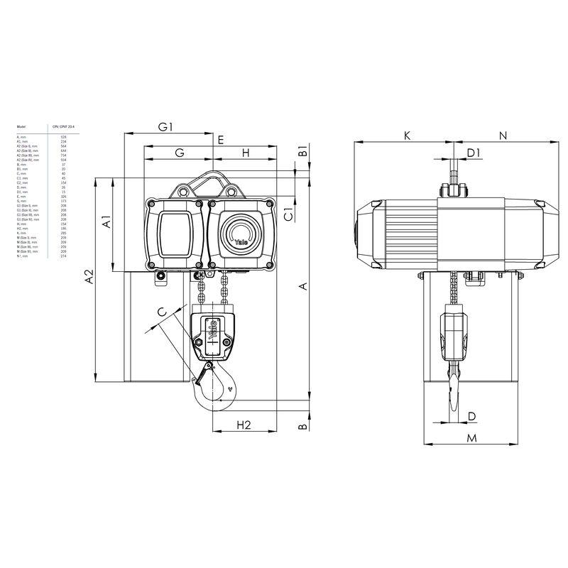 Yale CPV 2000 kg - wymiary