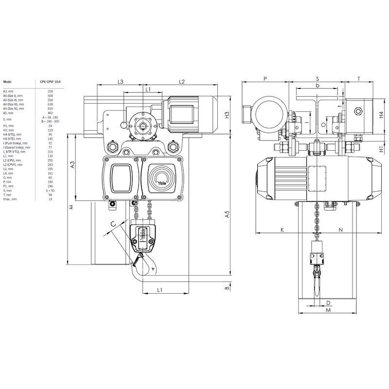 Yale CPV VTE 1000 kg - wymiary