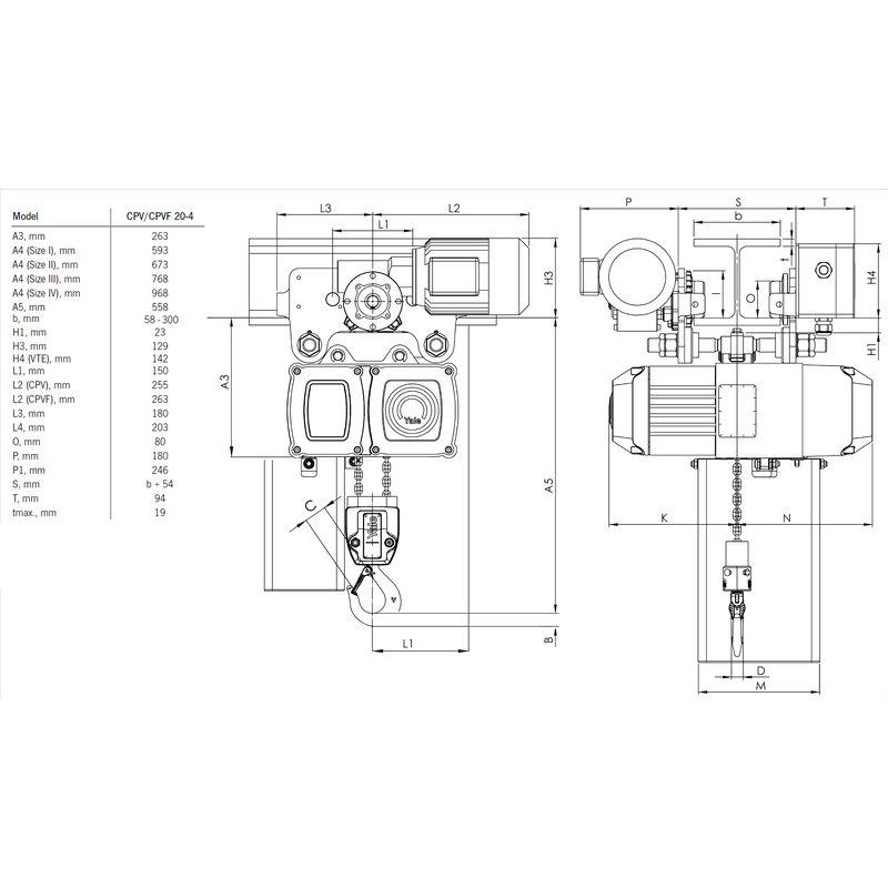 Yale CPV VTE 2000 kg - wymiary