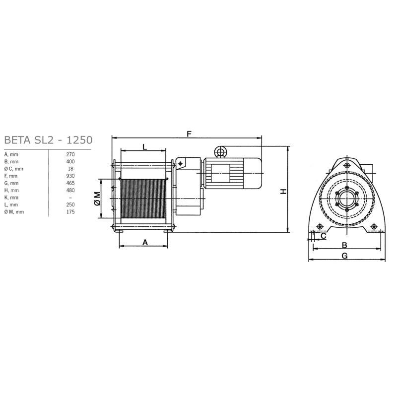 Pfaff SL 980/1250 kg - wymiary