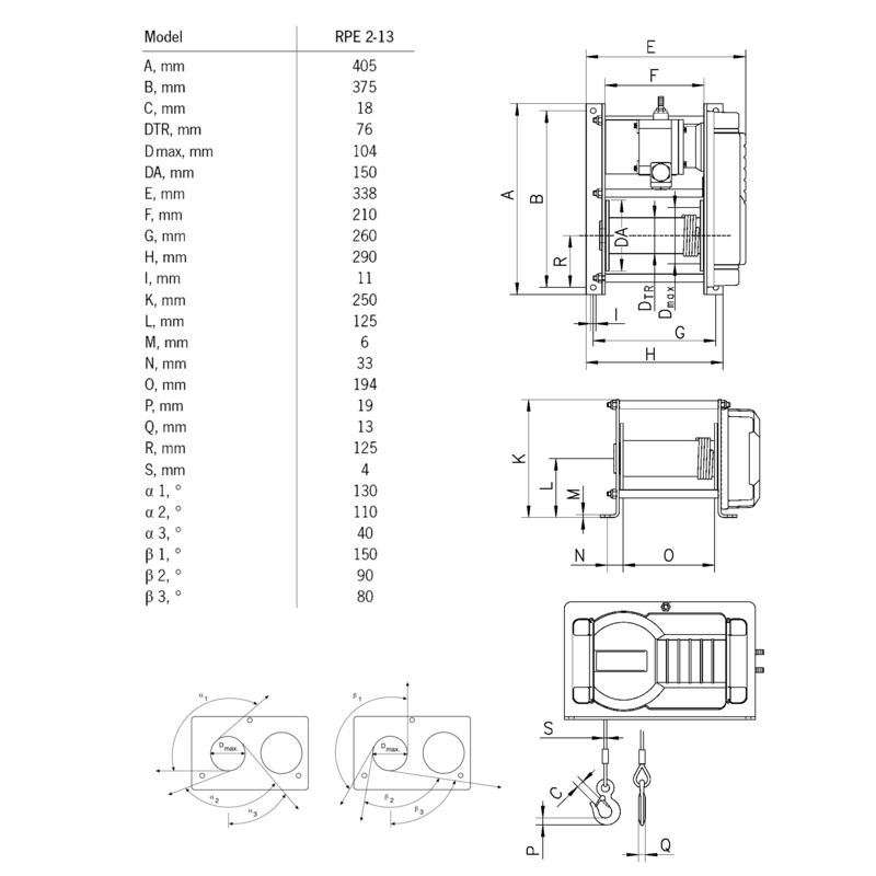 Yale RPE 2-13 230V - wymiary