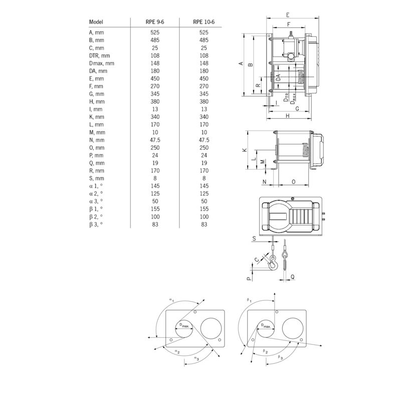 Yale RPE 10-6 230V - wymiary