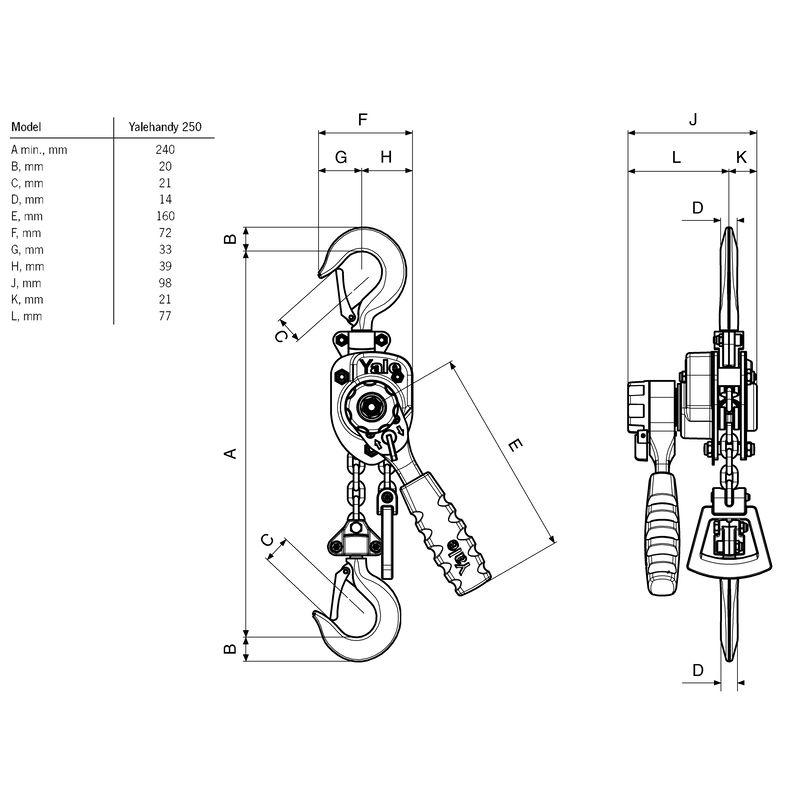 YaleHANDY 250 - wciągnik dźwigniowy - wymiary
