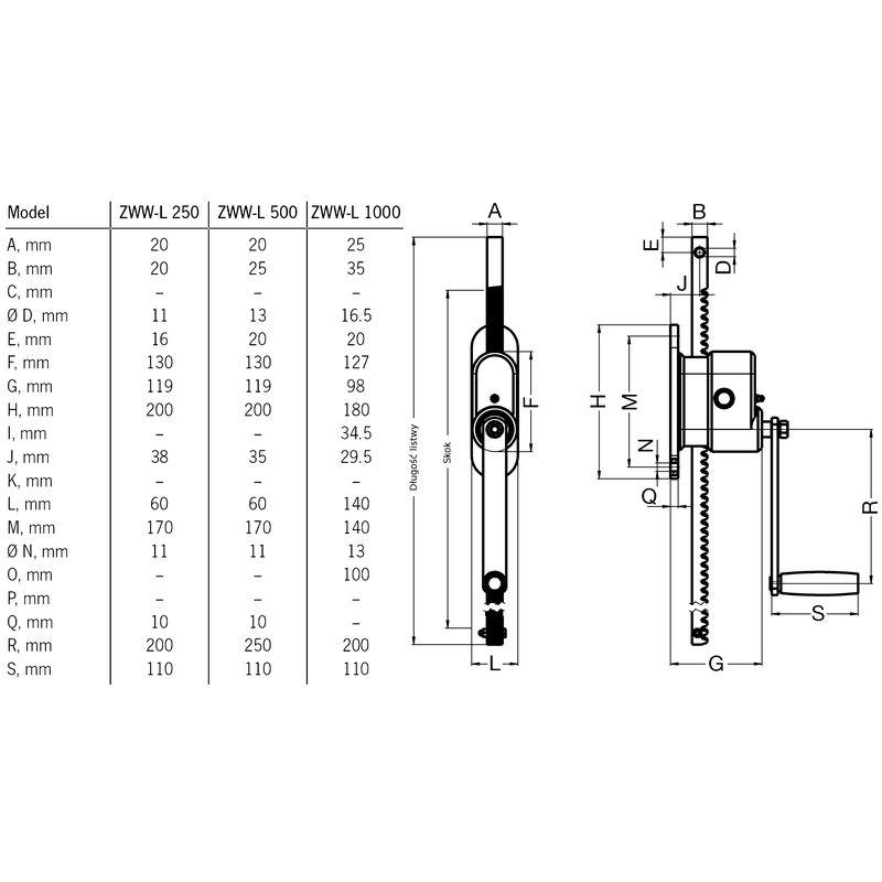Pfaff ZWW-L 250 - wymiary