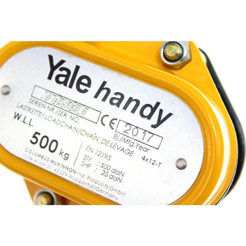 Yalehandy 500 kg - tabliczka znamionowa