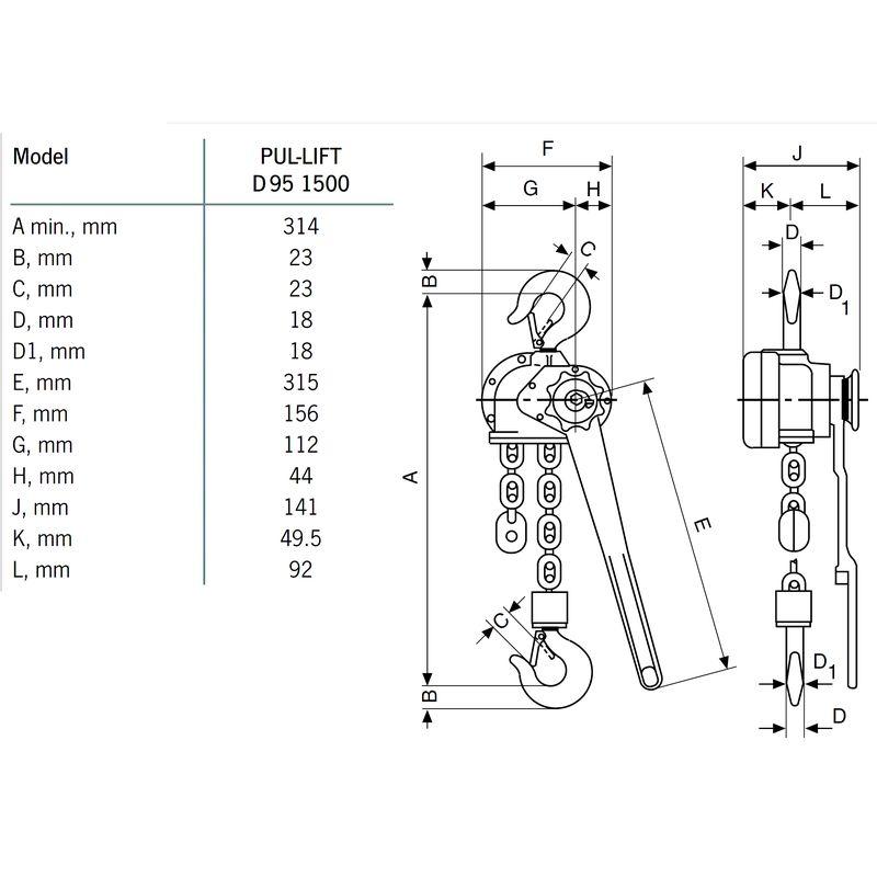 Yale D95 1500 kg - wymiary