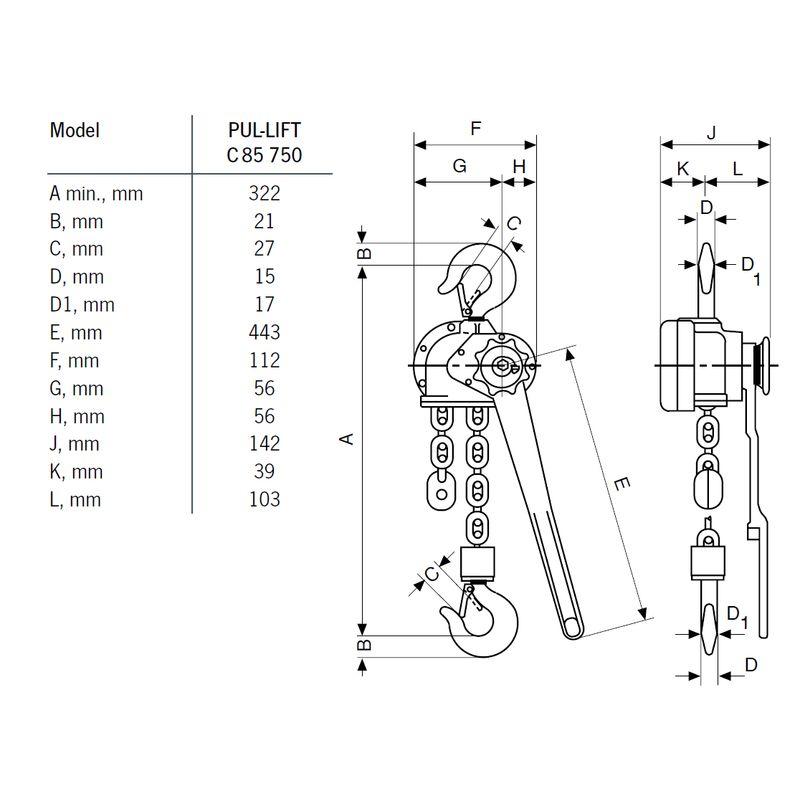 Yale C85/D85 750 kg - wymiary