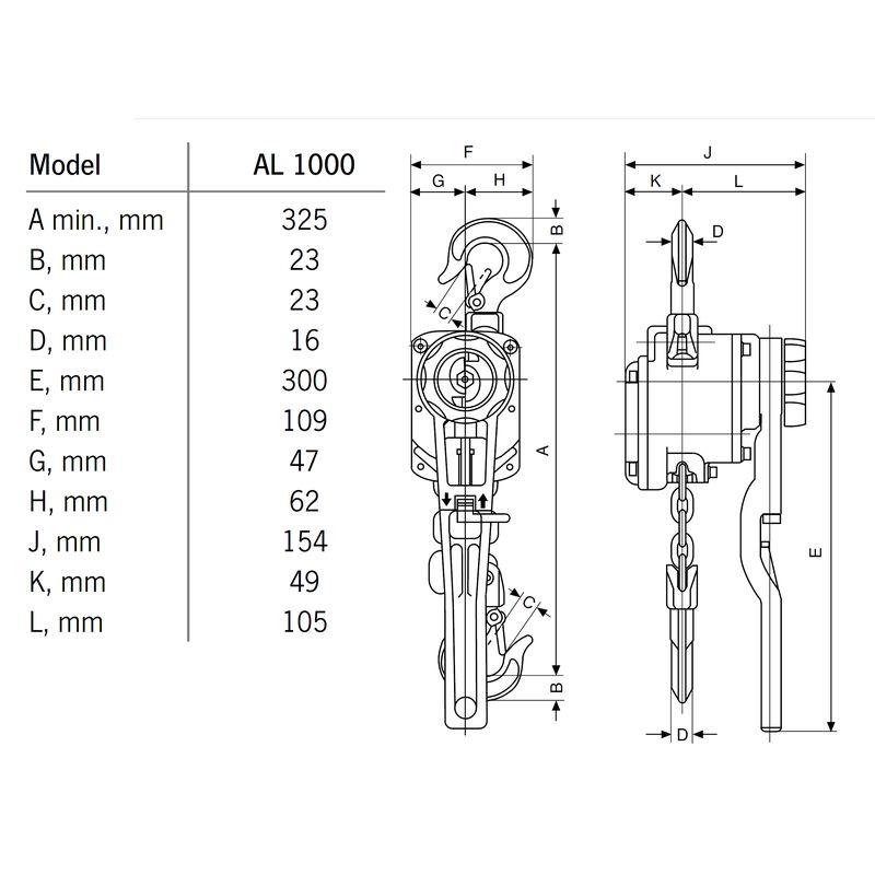 Yale AL 1000 kg - wymiary
