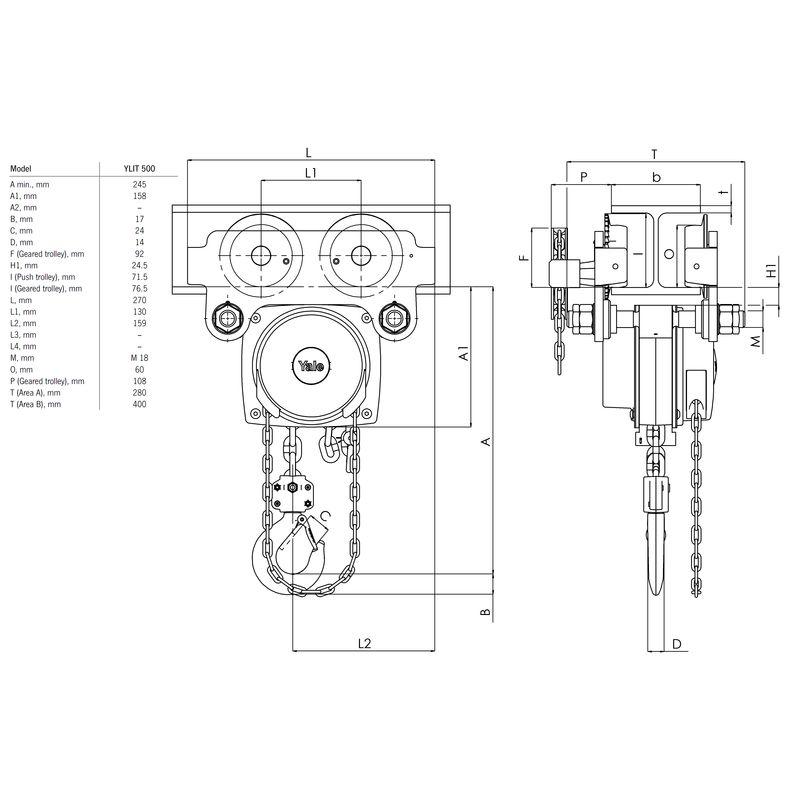 Yalelift ITP/G 1000 kg - wymiary