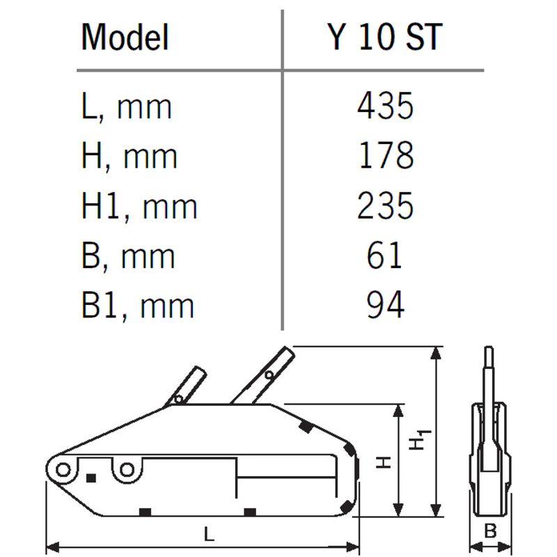 YaleTRAC Y 10 ST - YaleTRAC Y 10 ST - przeciągarka linowa - wymiary