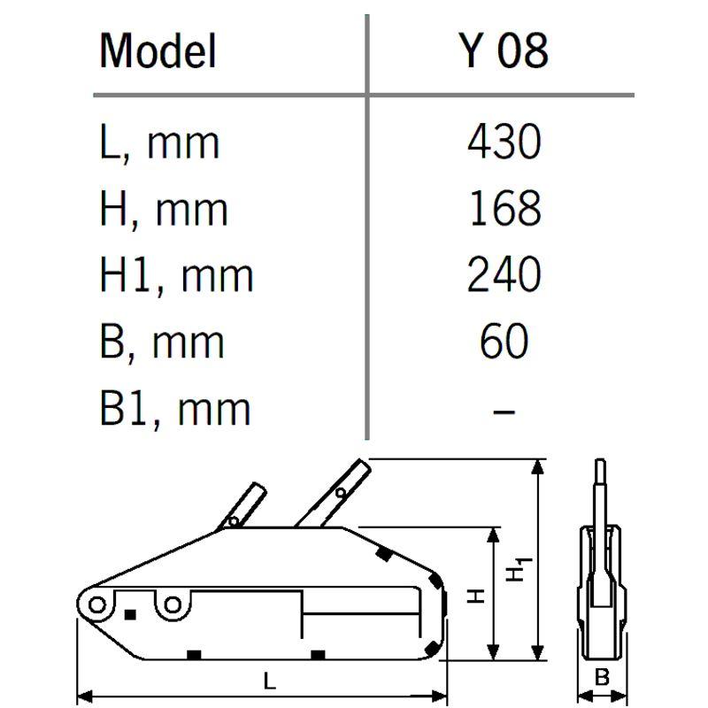 YaleTRAC Y 08 - przeciągarka linowa z aluminiowym korpusem - wymiary