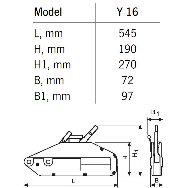 YaleTRAC Y 16 - przeciągarka linowa z aluminiowym korpusem - wymiary
