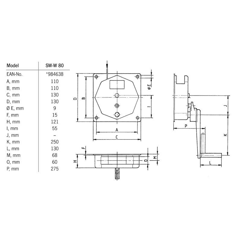 Pfaff SW-W 80 - wymiary