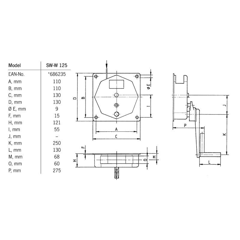 Pfaff SW-W 125 - wymiary