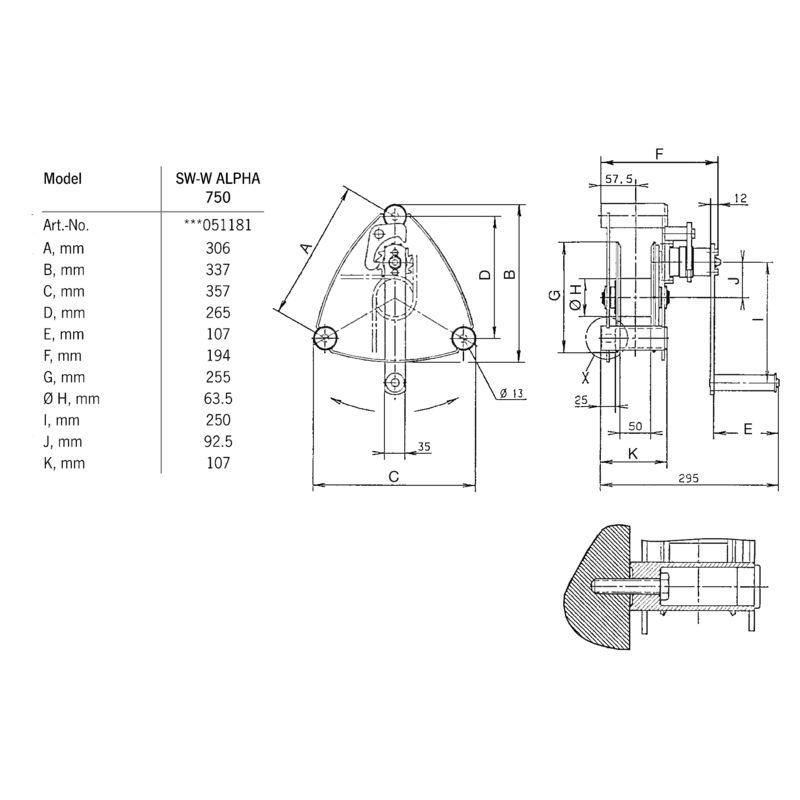 Pfaff ALPHA 750 kg - wymiary