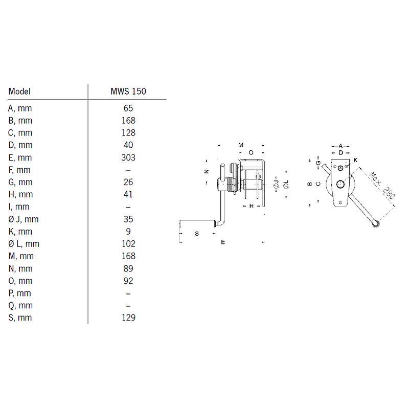 Pfaff MWS 150 - stacjonarna ręczna wciągarka linowa - wymiary