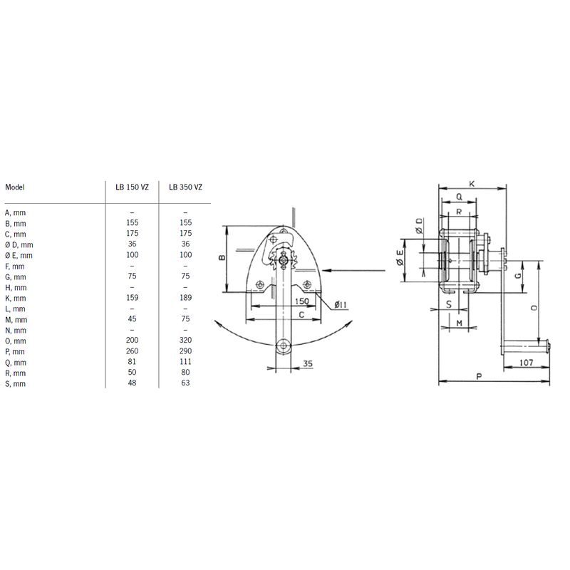 Pfaff LB 150 - 350 - ręczna wciągarka linowa - wymiary