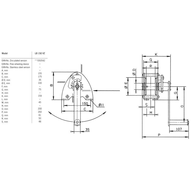 Pfaff LB 150 VZ - wymiary