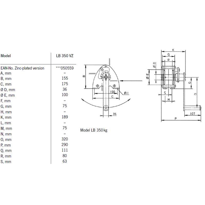 Pfaff LB 350 VZ - wymiary