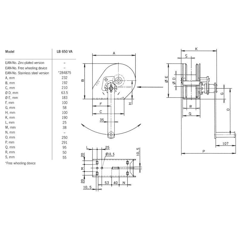 Pfaff LB 650 VZ - wymiary