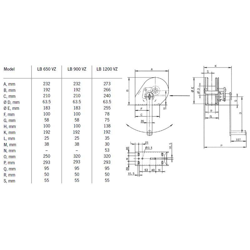Pfaff LB 650 - 1200 - ręczna wciągarka linowa - wymiary