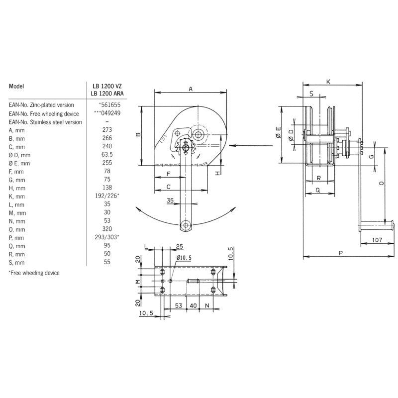 Pfaff LB 1200 VZ - wymiary