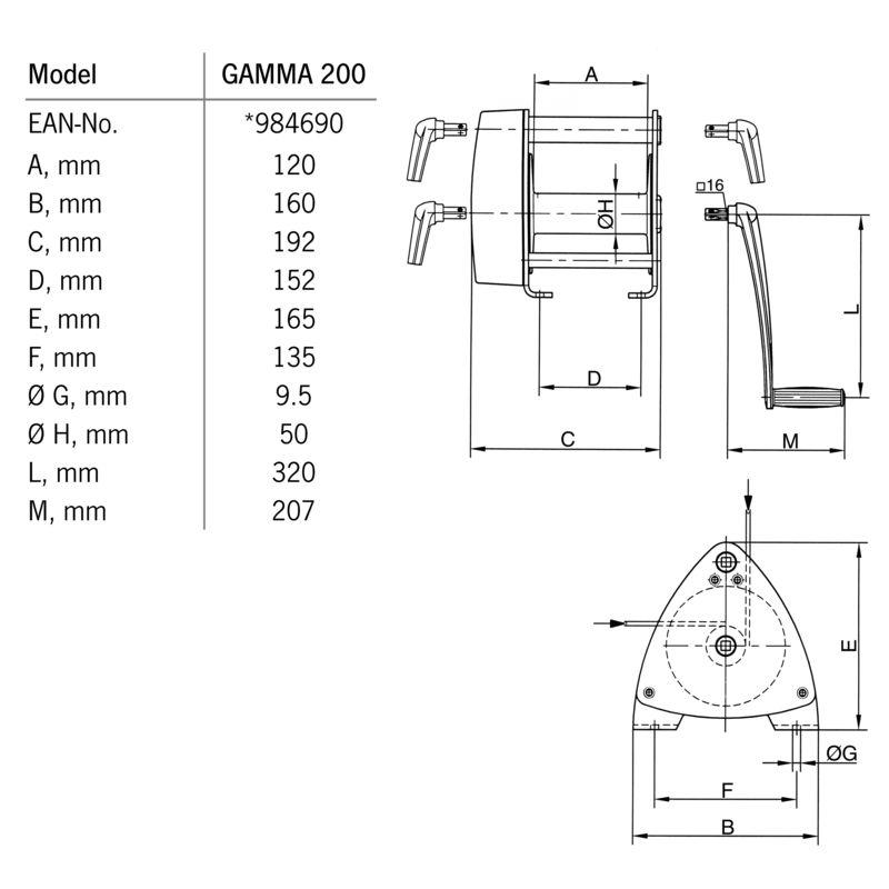 Pfaff GAMMA 200 kg - wymiary