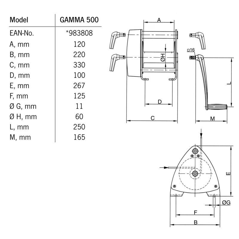 Pfaff GAMMA 500 kg - wymiary
