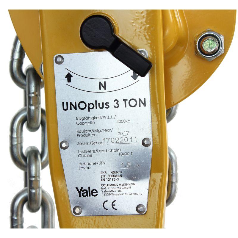 Yale UNOplus 750 kg - tabliczka znamionowa