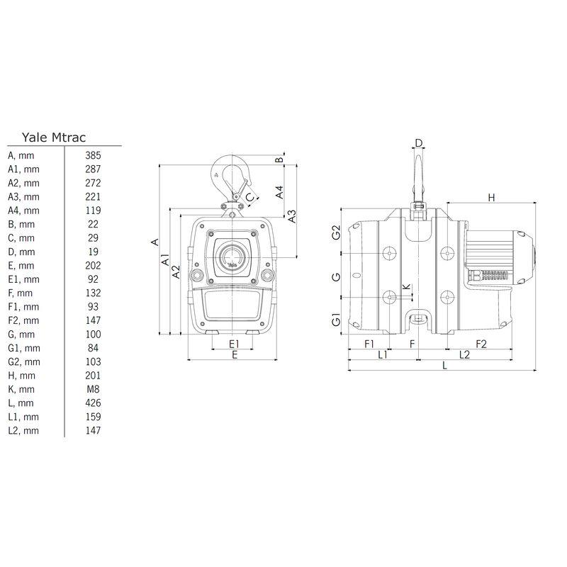 Yale Mtrac 66/100 kg - wymiary
