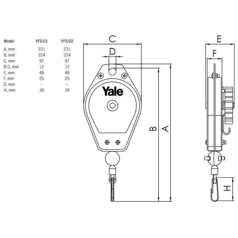 Yale YFS-02 - wymiary