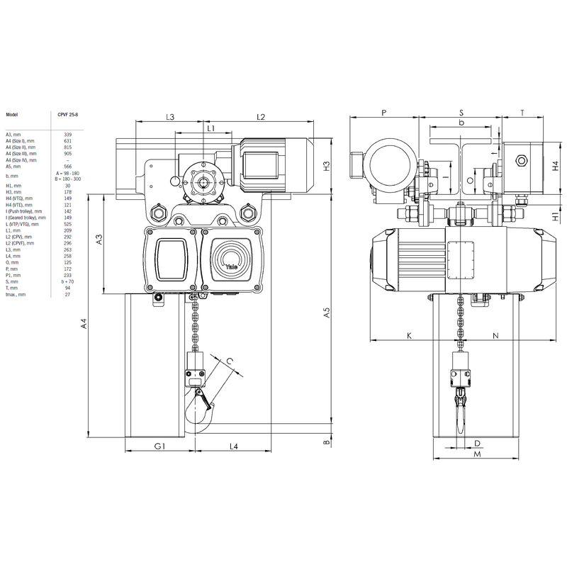 Yale CPVF VTE 2500 kg - wymiary