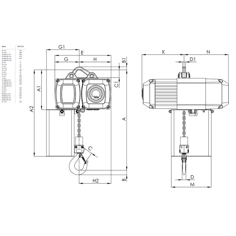 Yale CPVF 2500 kg - wymiary