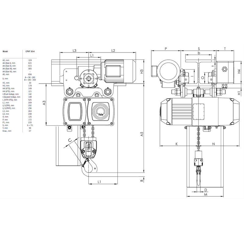 Yale CPVF VTE 5000 kg - wymiary