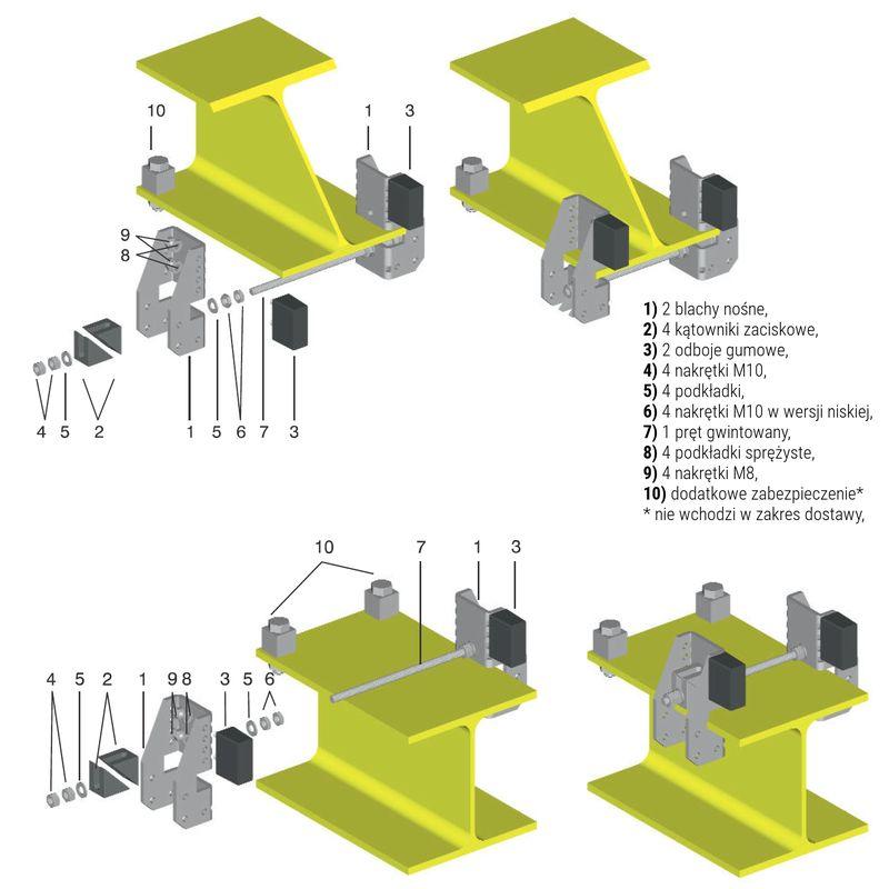ogranicznik toru wózka belkowego - sposoby mocowania na odboju do dolnej i górnej półki dźwigara