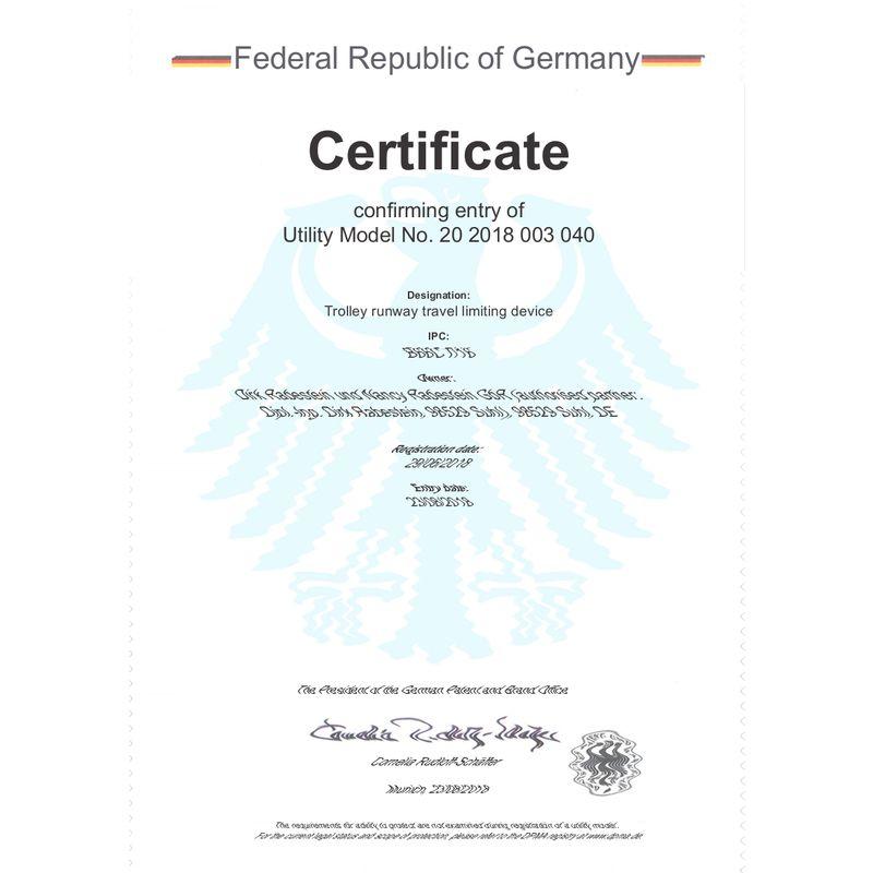 ogranicznik toru wózka belkowego - certyfikat