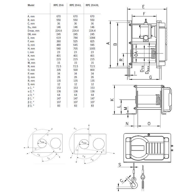 Yale RPE 2000 kg - wymiary
