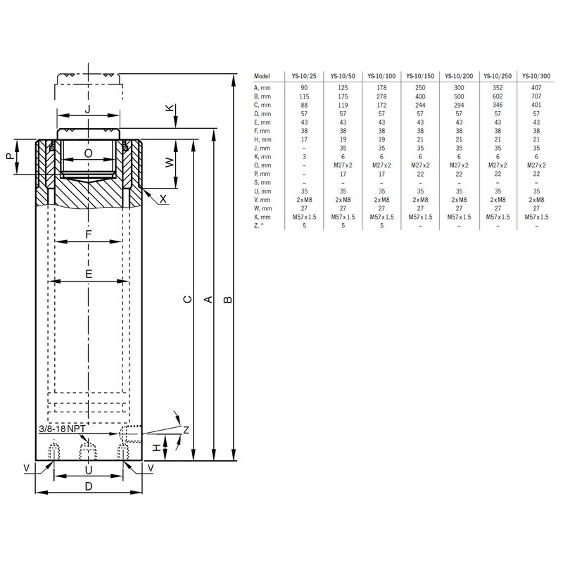 Yale YS 10 ton - wymiary