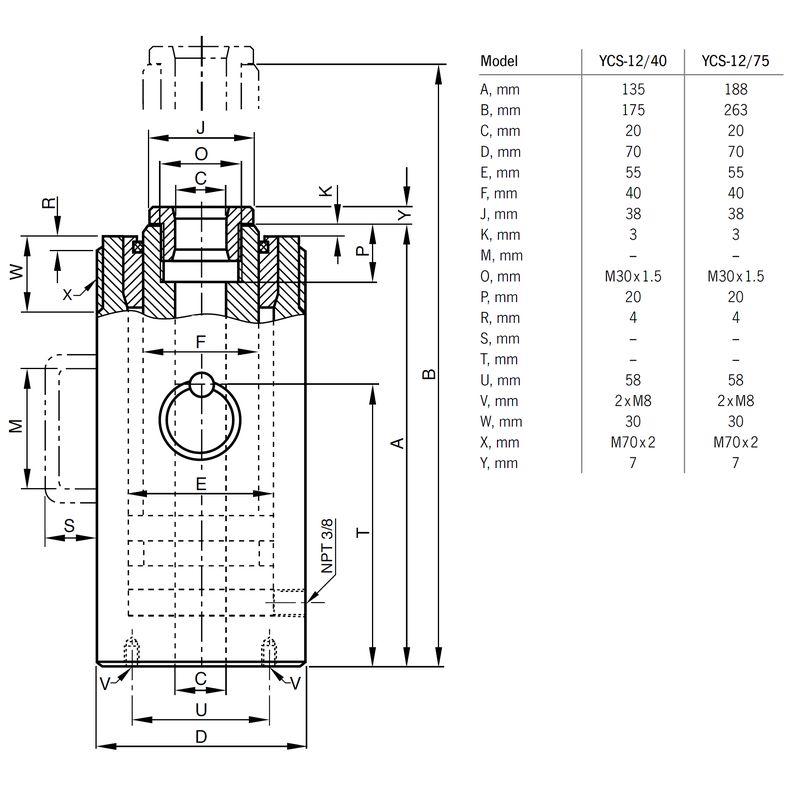 Yale YCS 12 ton - wymiary