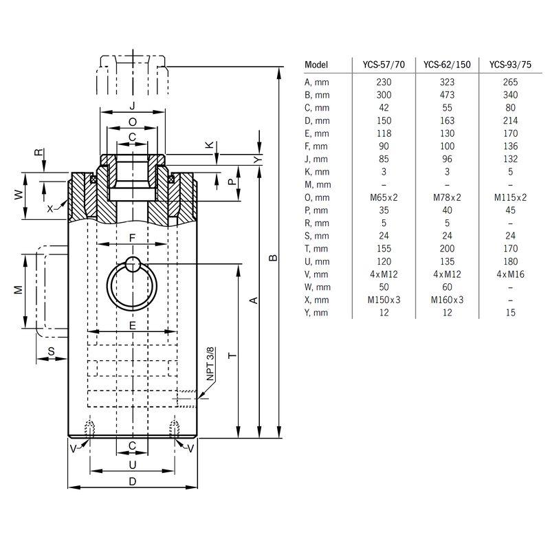 Yale YCS 57 ton - wymiary