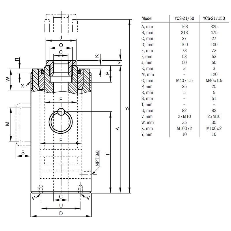 Yale YCS 21 ton - wymiary